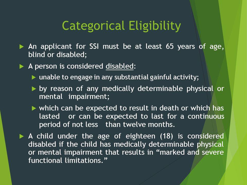 Categorical Eligibility