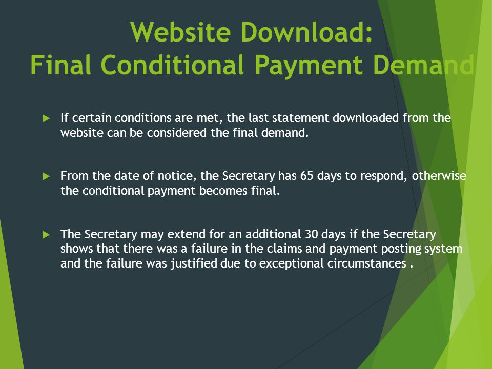 Website Download: Final Conditional Payment Demand