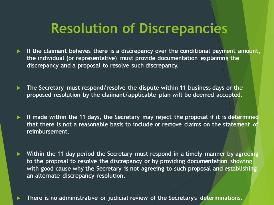 Resolution of Discrepancies