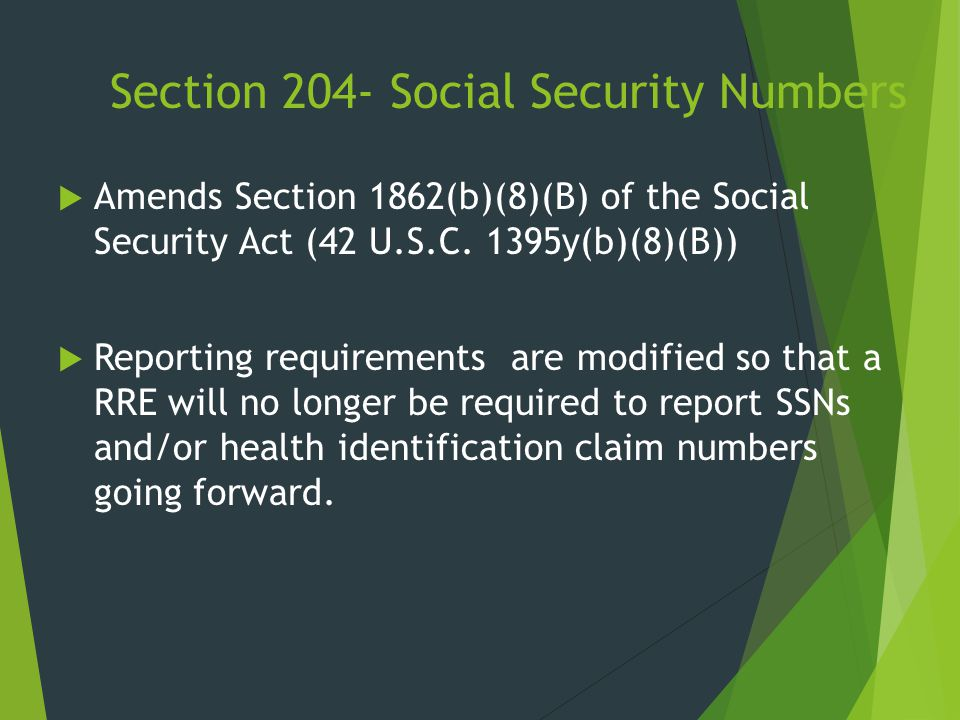 Section 204- Social Security Numbers