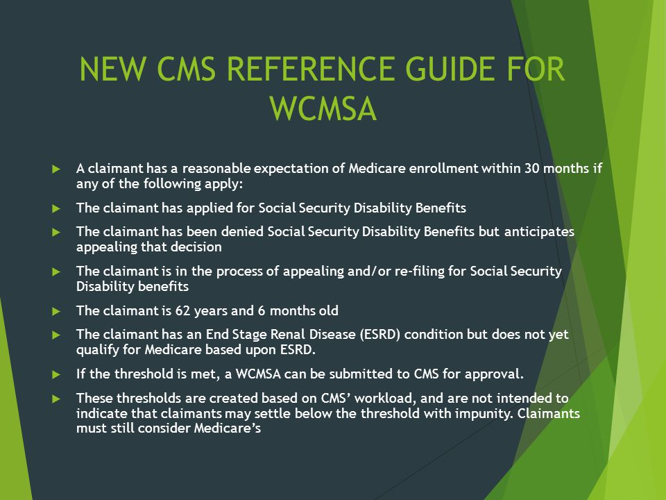 NEW CMS REFERENCE GUIDE FOR WCMSA