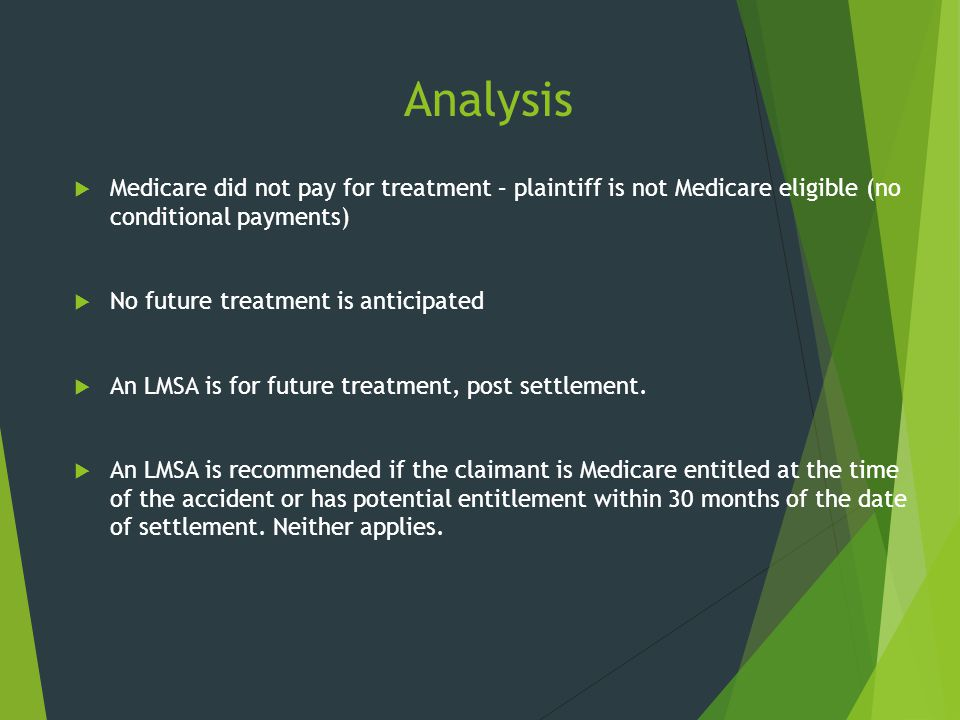 Analysis Medicare did not pay for treatment – plaintiff is not Medicare eligible (no conditional payments)
