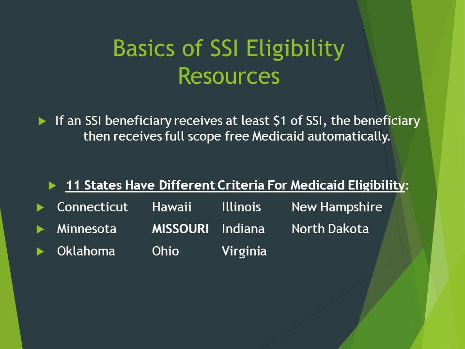 Basics of SSI Eligibility Resources