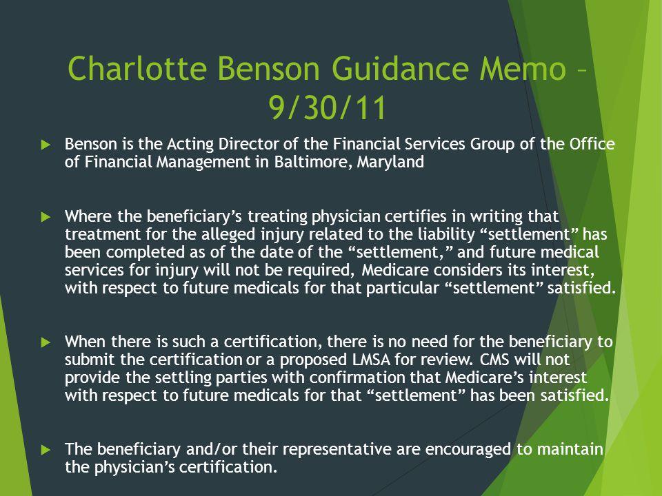Charlotte Benson Guidance Memo – 9/30/11