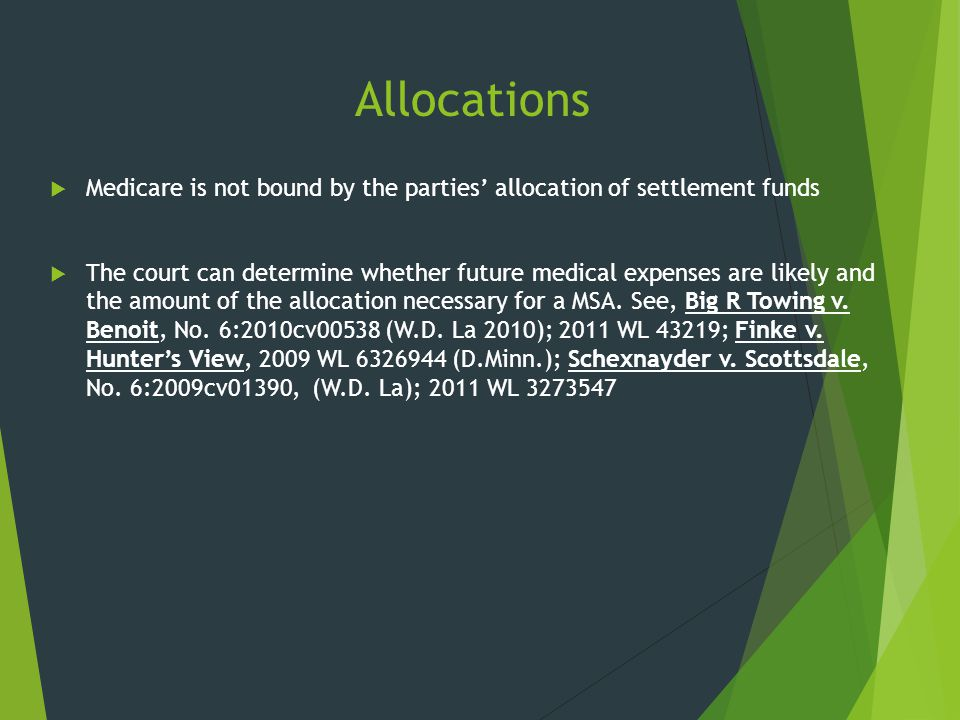 Allocations Medicare is not bound by the parties' allocation of settlement funds.