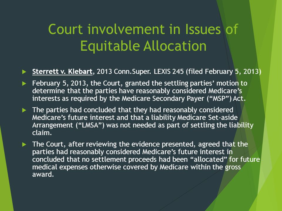 Court involvement in Issues of Equitable Allocation