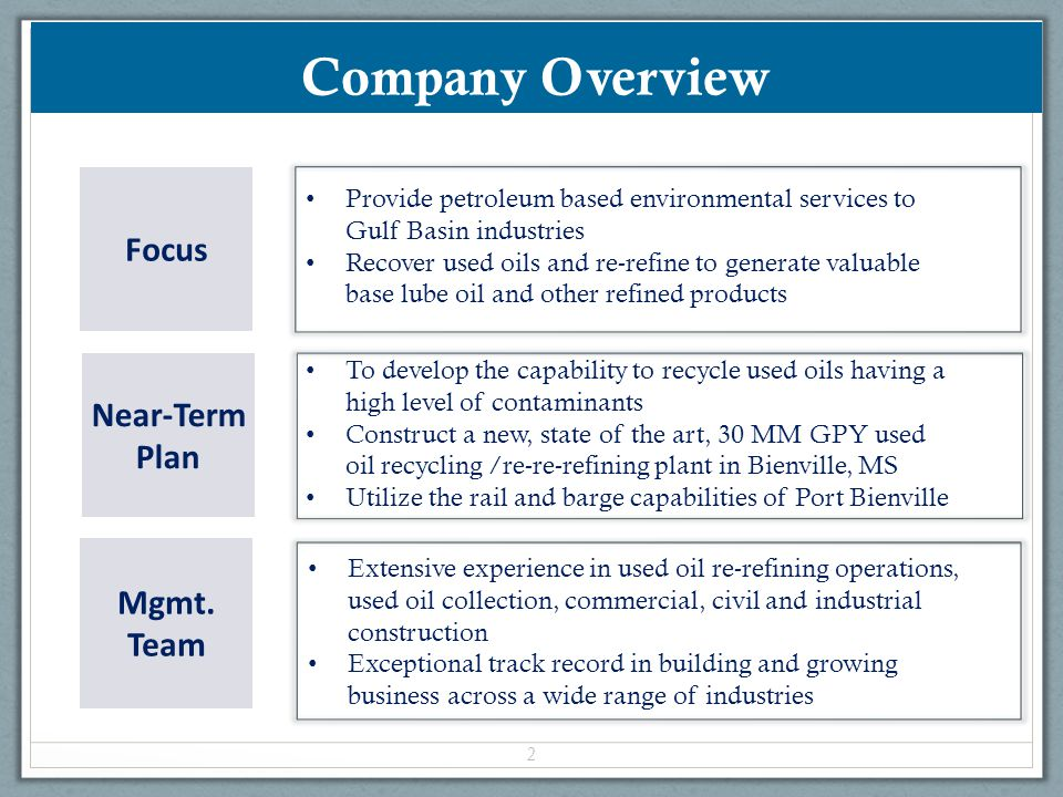 Company Overview Focus Near-Term Plan Mgmt. Team