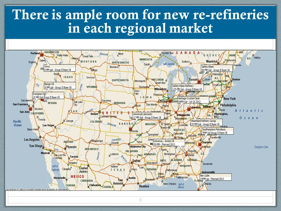 There is ample room for new re-refineries in each regional market