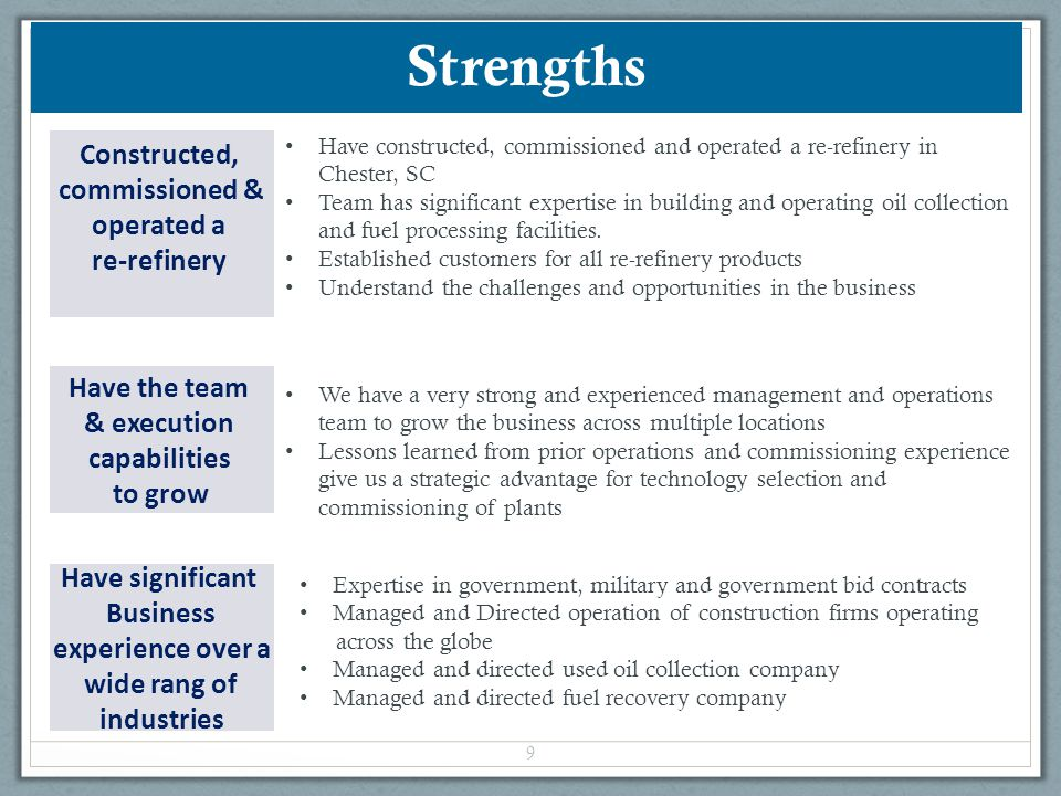 Strengths Constructed, commissioned & operated a re-refinery
