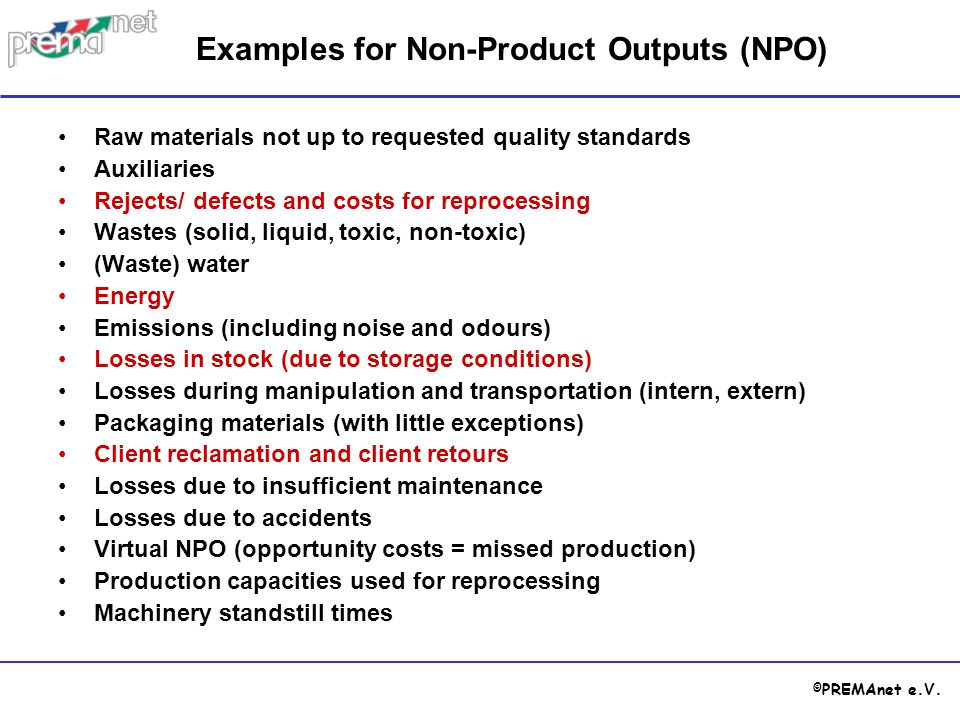 Examples for Non-Product Outputs (NPO)