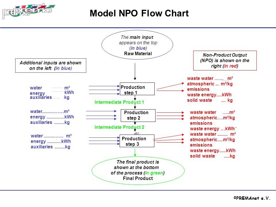 Model NPO Flow Chart The main input appears on the top (in blue)