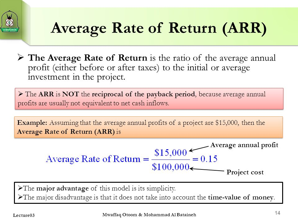 Average Rate of Return (ARR)