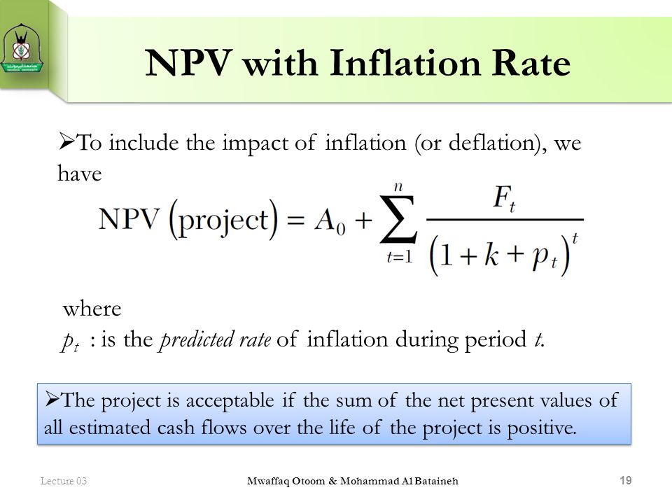 NPV with Inflation Rate