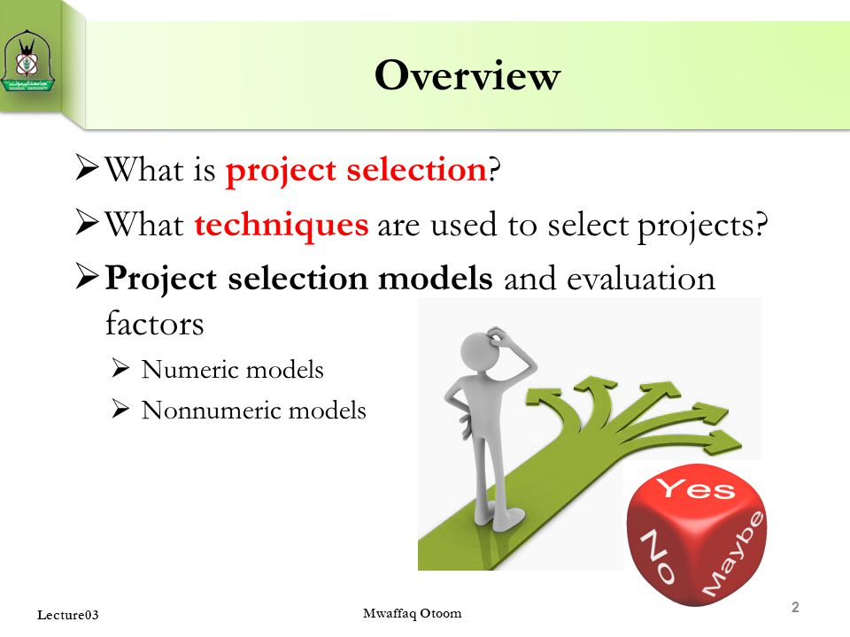 Overview What is project selection