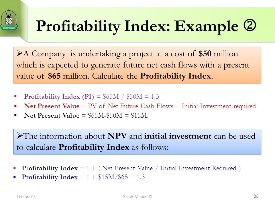 Profitability Index: Example 