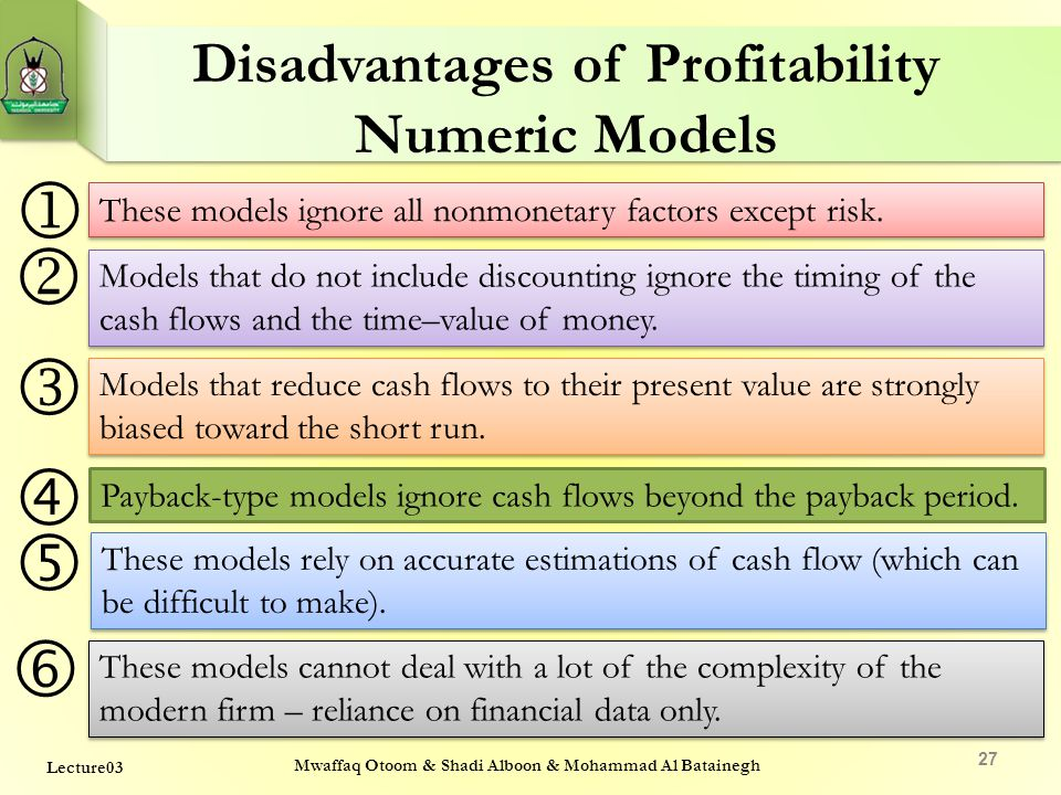 Disadvantages of Profitability Numeric Models