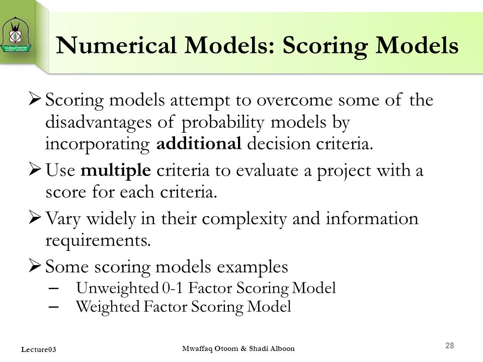 Numerical Models: Scoring Models
