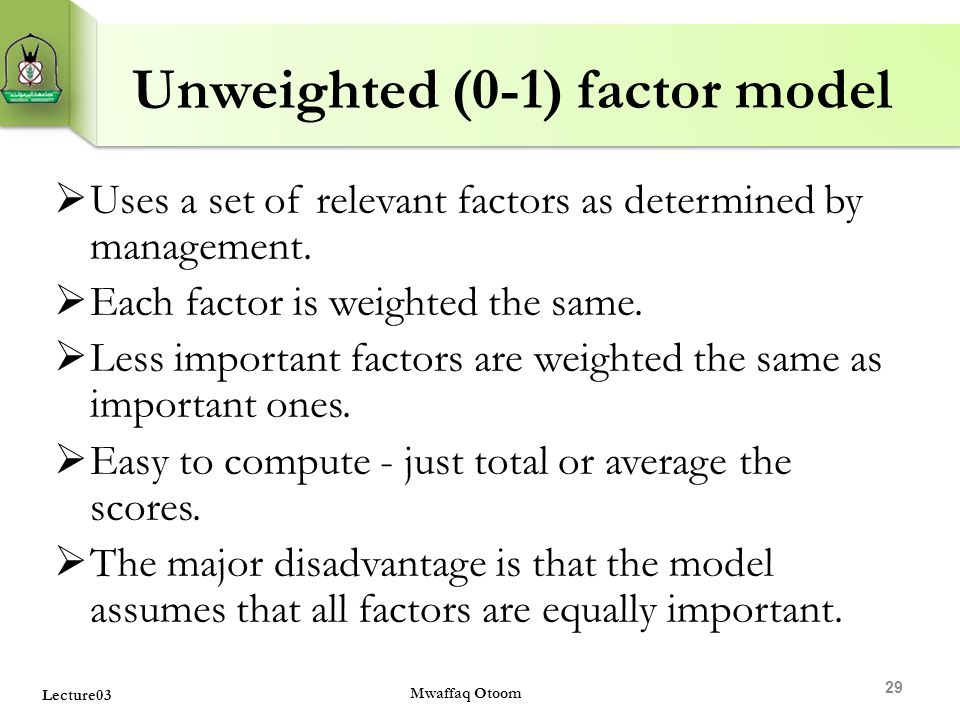 Unweighted (0-1) factor model