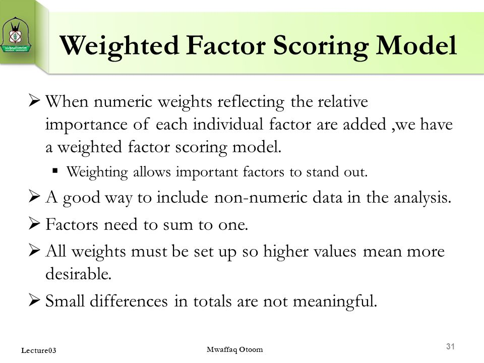 Weighted Factor Scoring Model