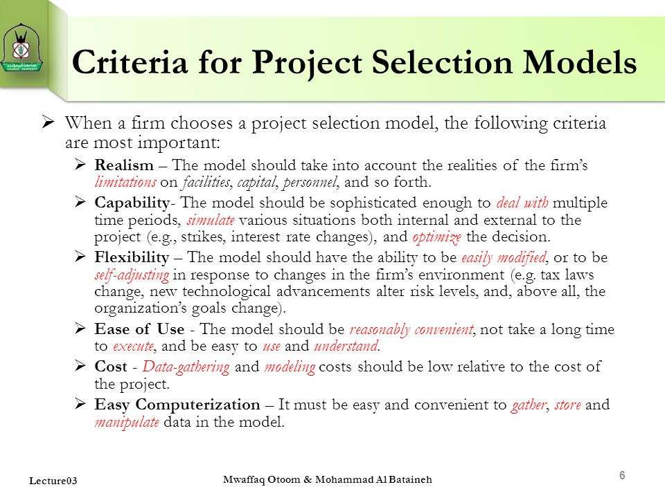 Criteria for Project Selection Models