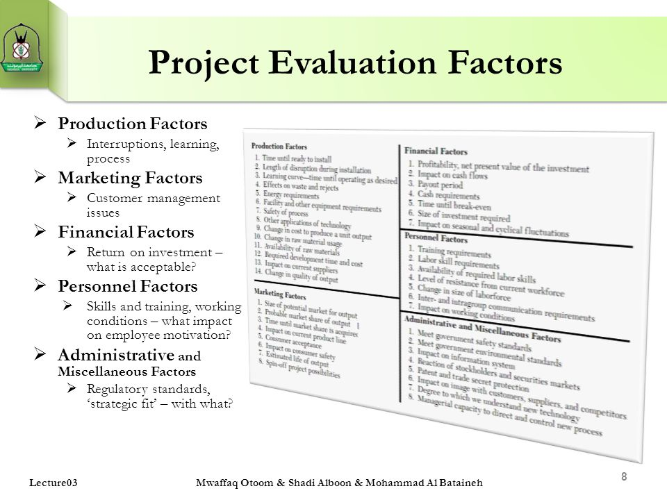Project Evaluation Factors