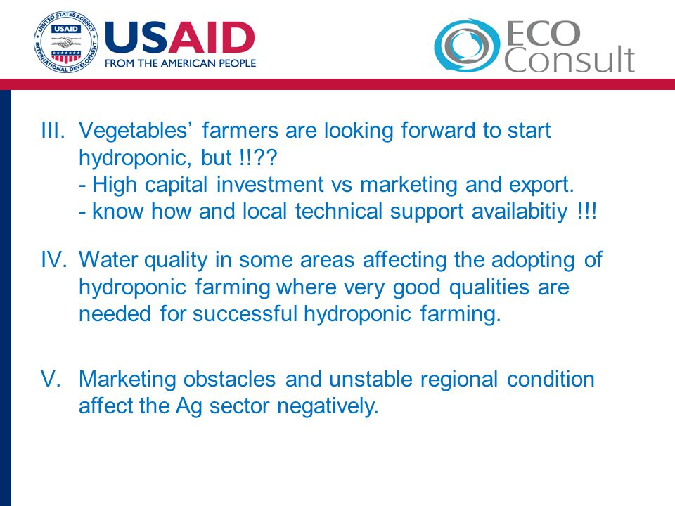 Vegetables' farmers are looking forward to start hydroponic, but