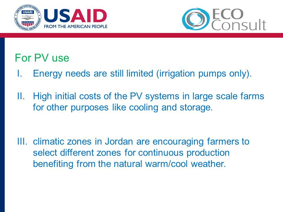 For PV use Energy needs are still limited (irrigation pumps only).