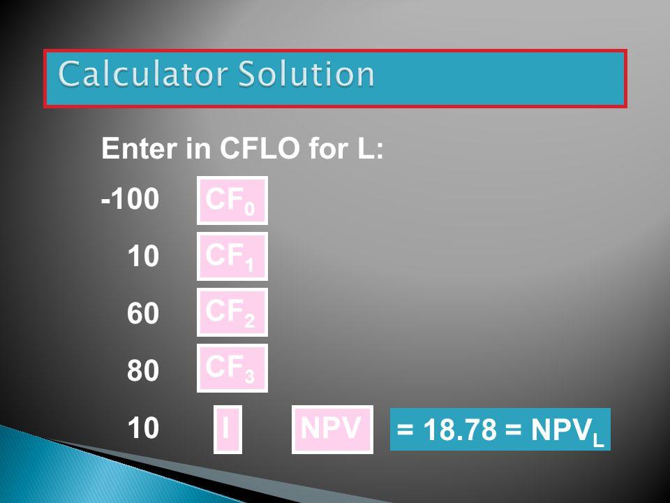 Calculator Solution Enter in CFLO for L: -100 10 60 80 CF0 CF1 CF2 CF3