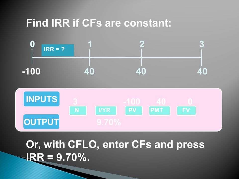 Find IRR if CFs are constant: