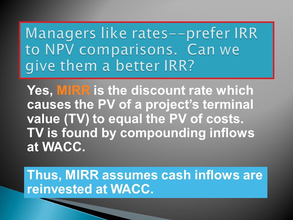 Managers like rates--prefer IRR to NPV comparisons