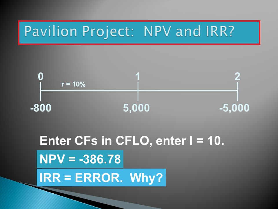Pavilion Project: NPV and IRR