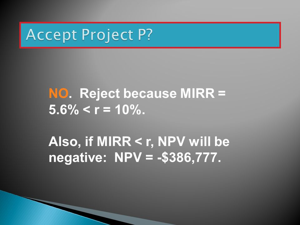 Accept Project P NO. Reject because MIRR = 5.6% < r = 10%.