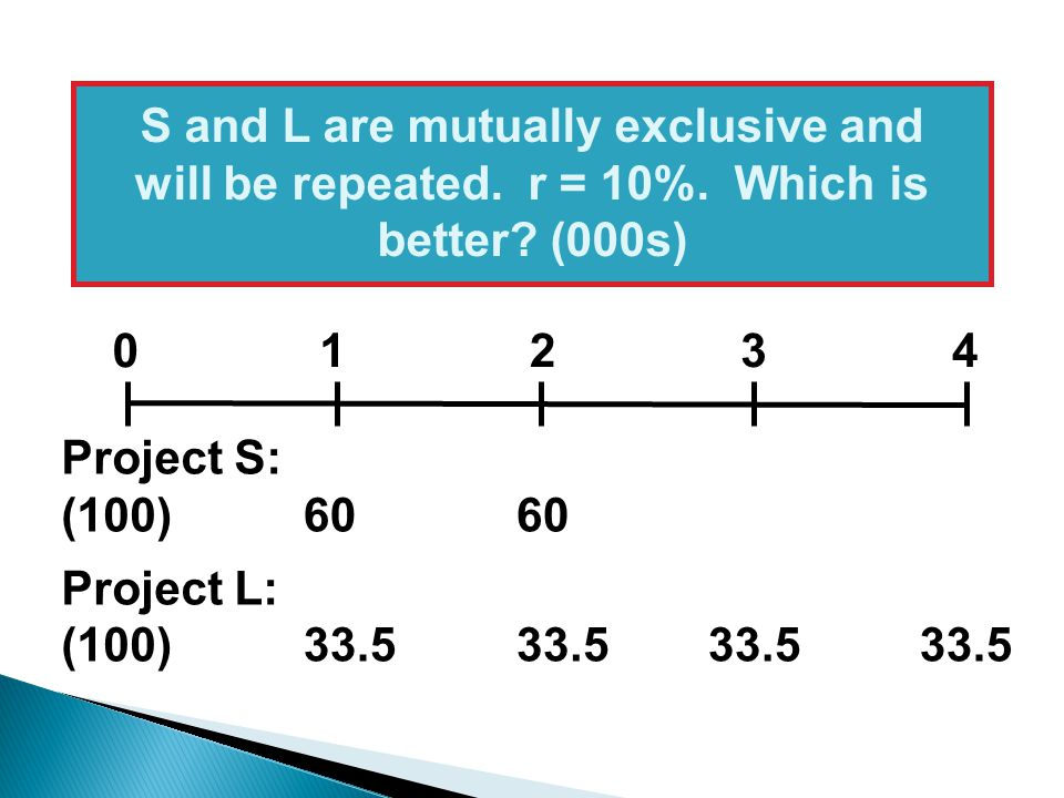 S and L are mutually exclusive and will be repeated. r = 10%