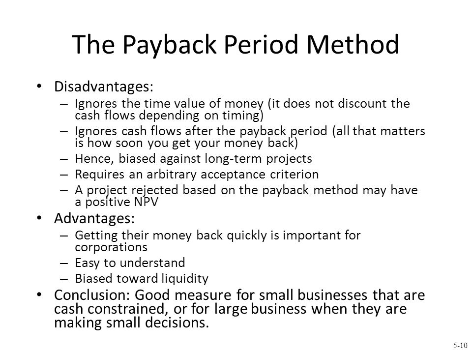 5.3 The Discounted Payback Period