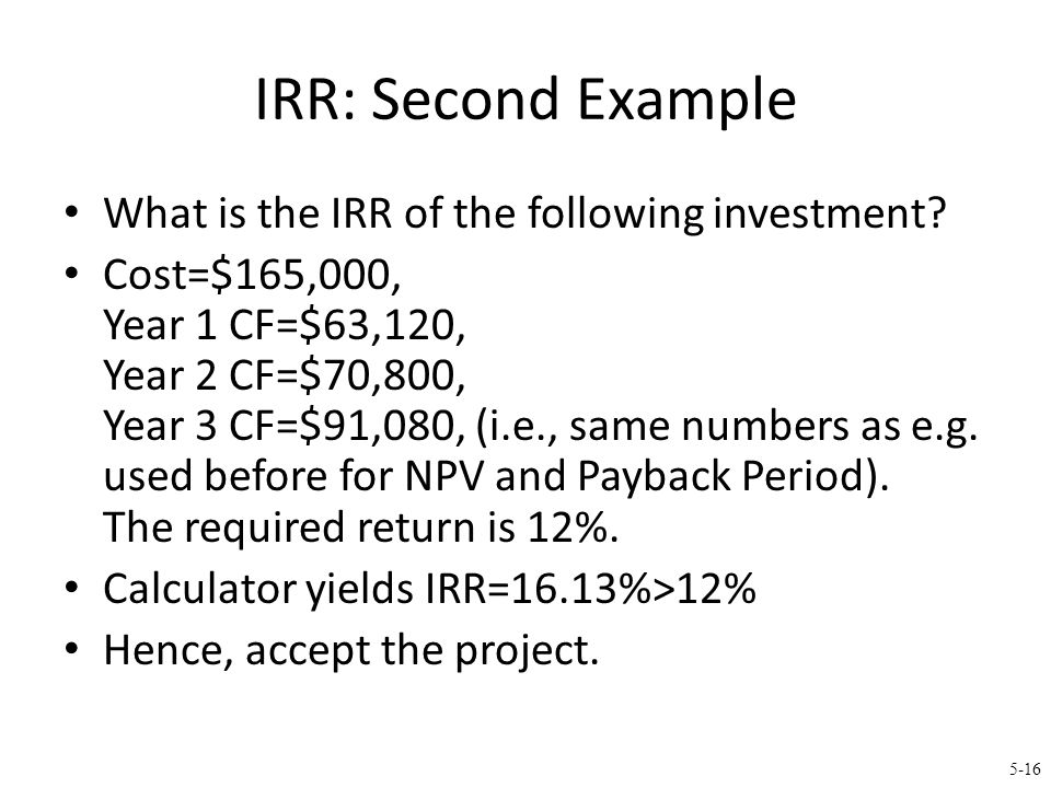 IRR: Second Example (continued)