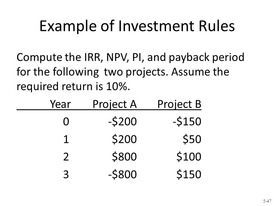 Example of Investment Rules