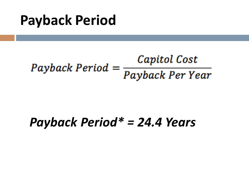 Payback Period Payback Period* = 24.4 Years