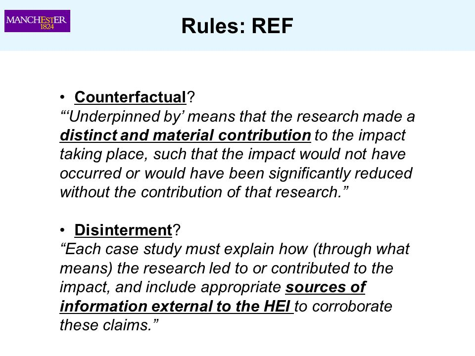 Rules: REF Counterfactual