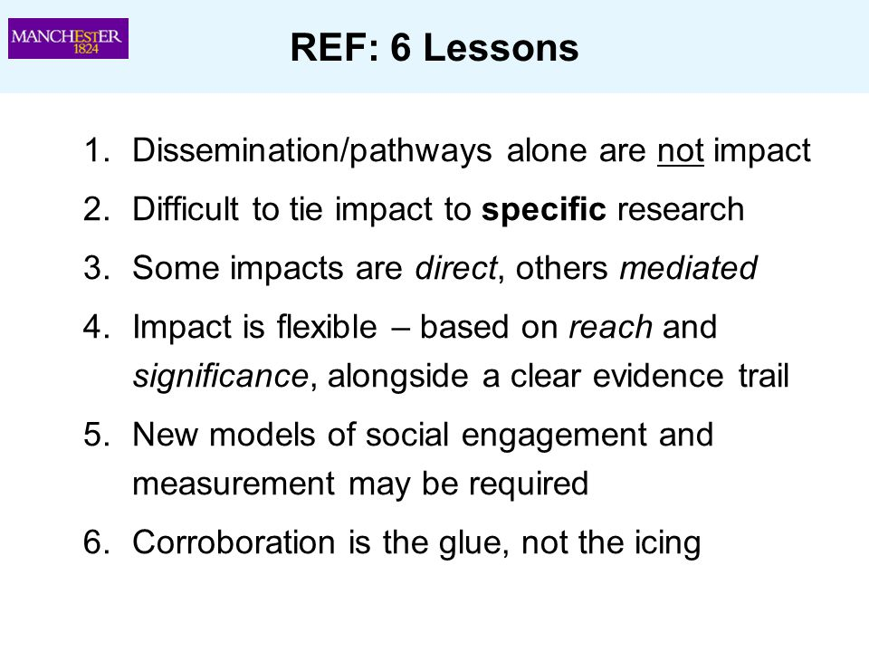 REF: 6 Lessons Dissemination/pathways alone are not impact