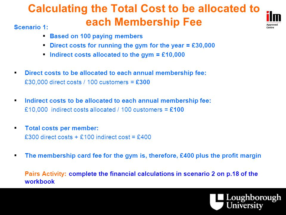 Calculating the Total Cost to be allocated to each Membership Fee