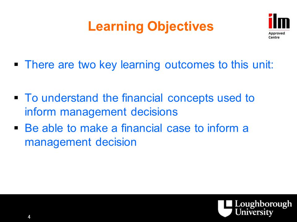 Learning Objectives There are two key learning outcomes to this unit: