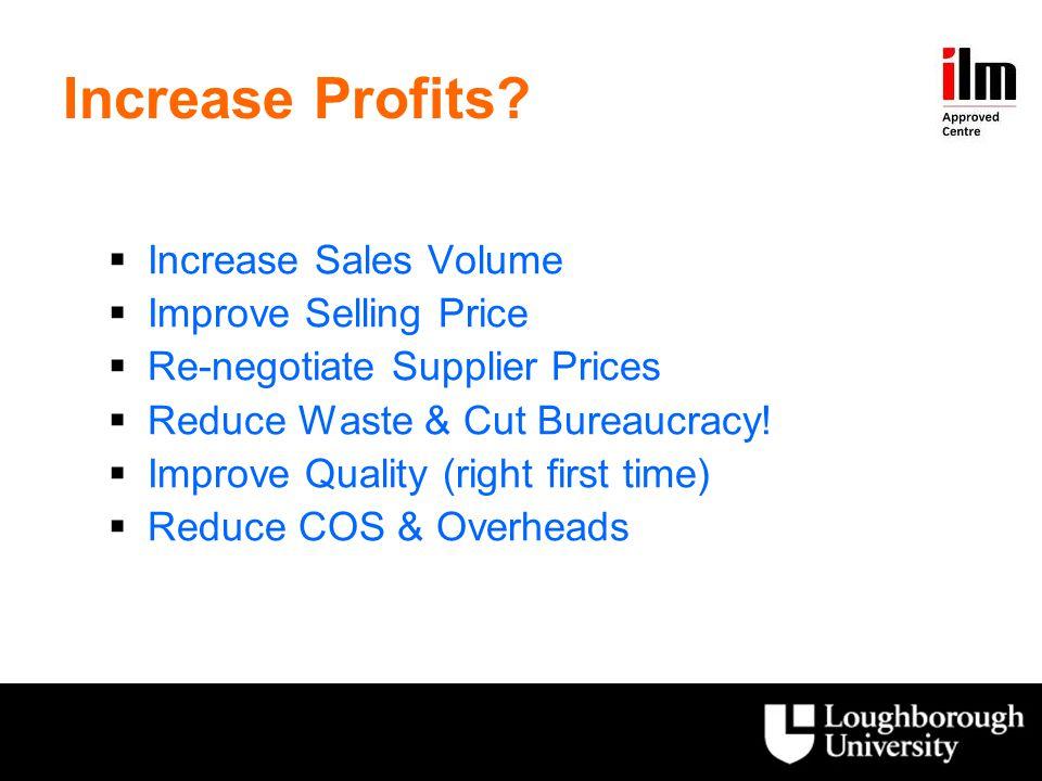 Increase Profits Increase Sales Volume Improve Selling Price