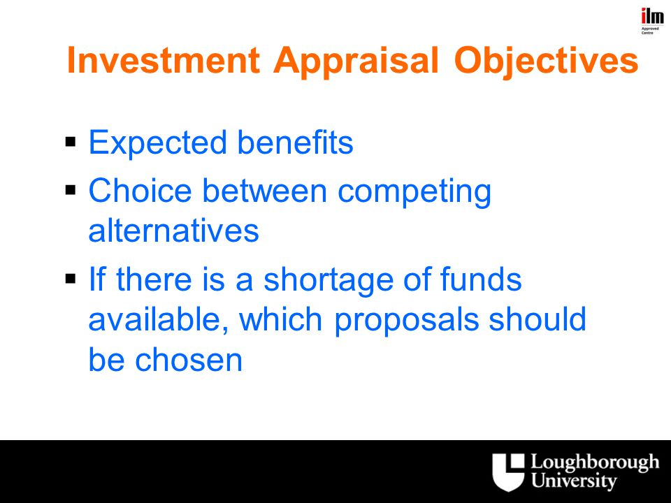 Investment Appraisal Objectives