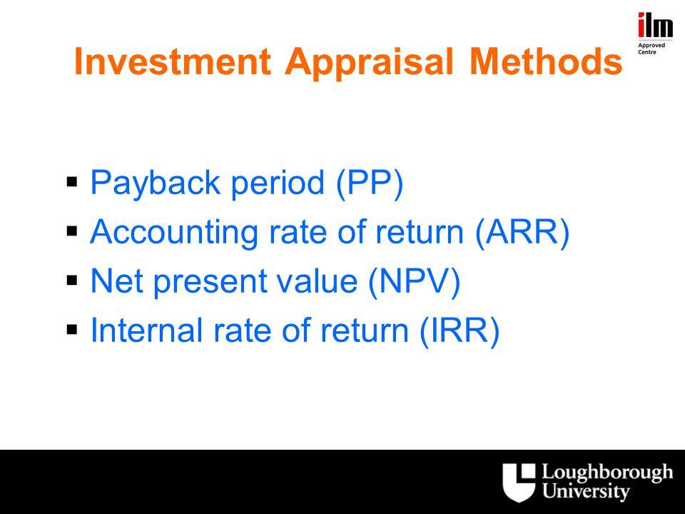 Investment Appraisal Methods