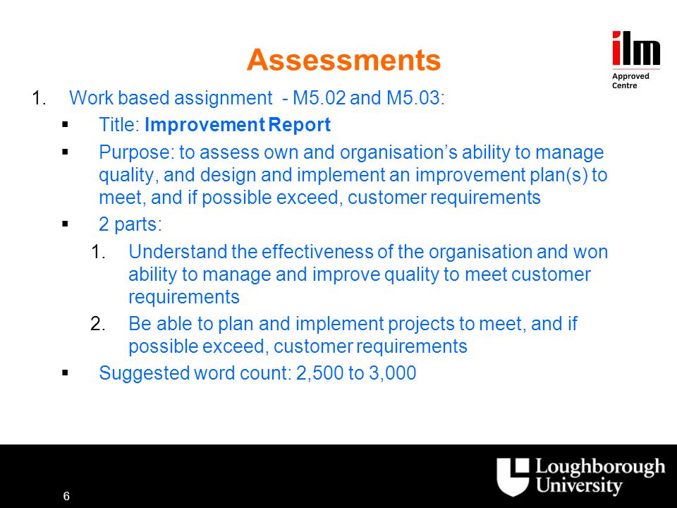 Assessments Work based assignment - M5.02 and M5.03: