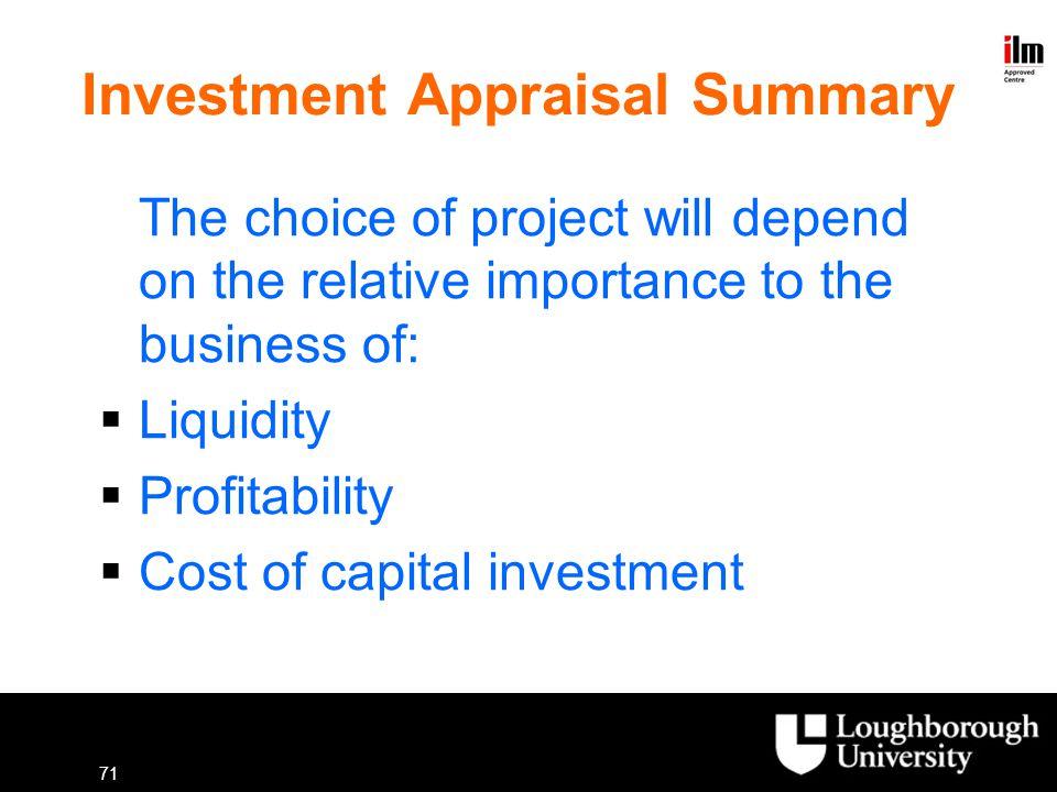 Investment Appraisal Summary