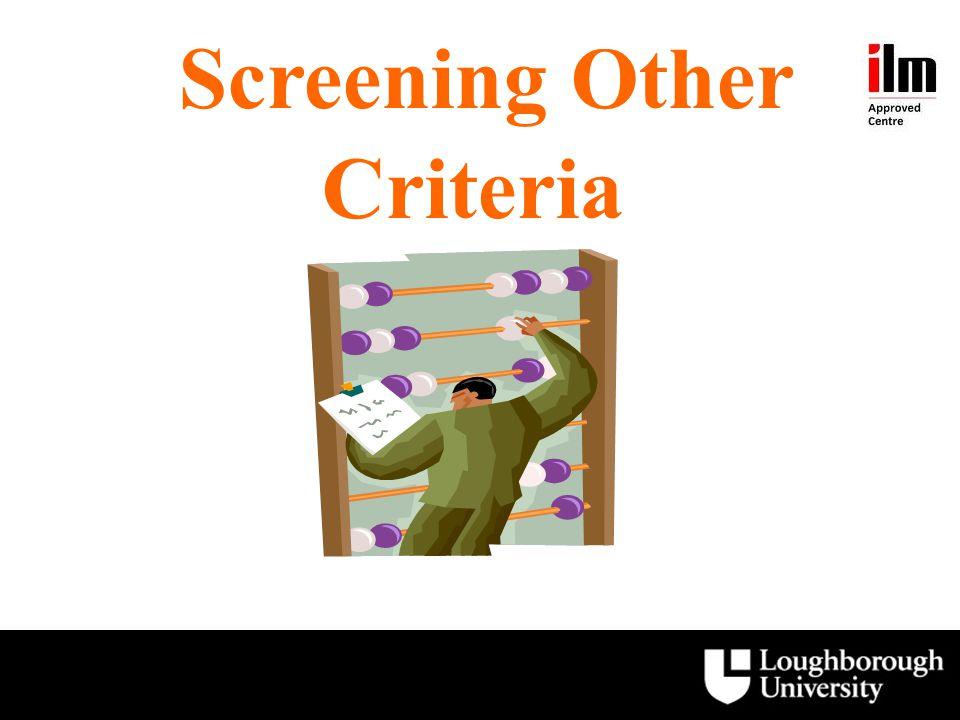 Screening Other Criteria