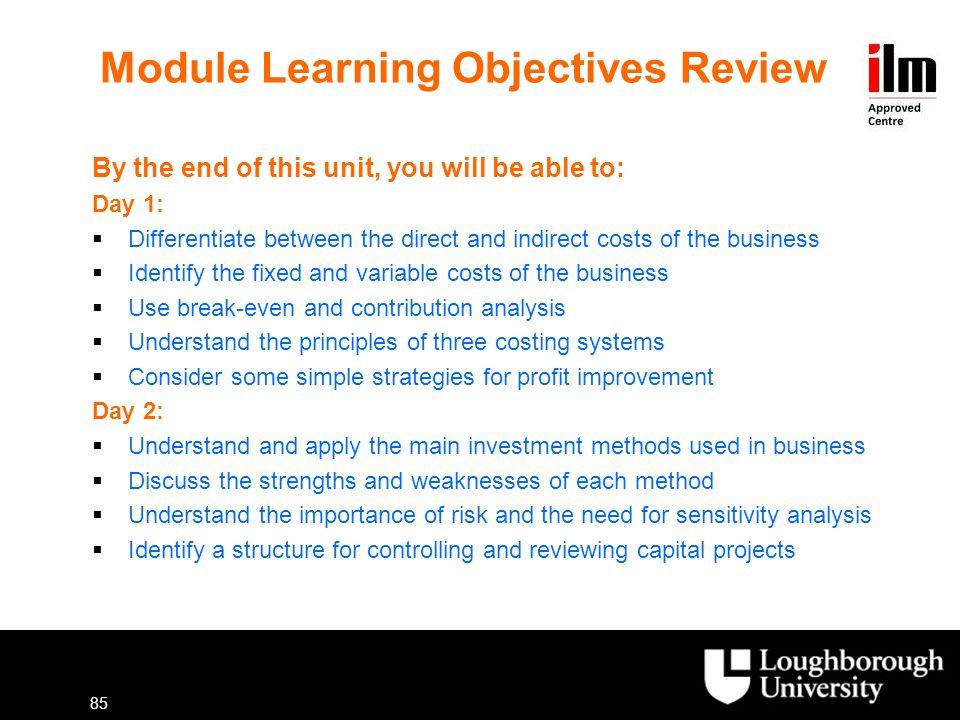 Module Learning Objectives Review