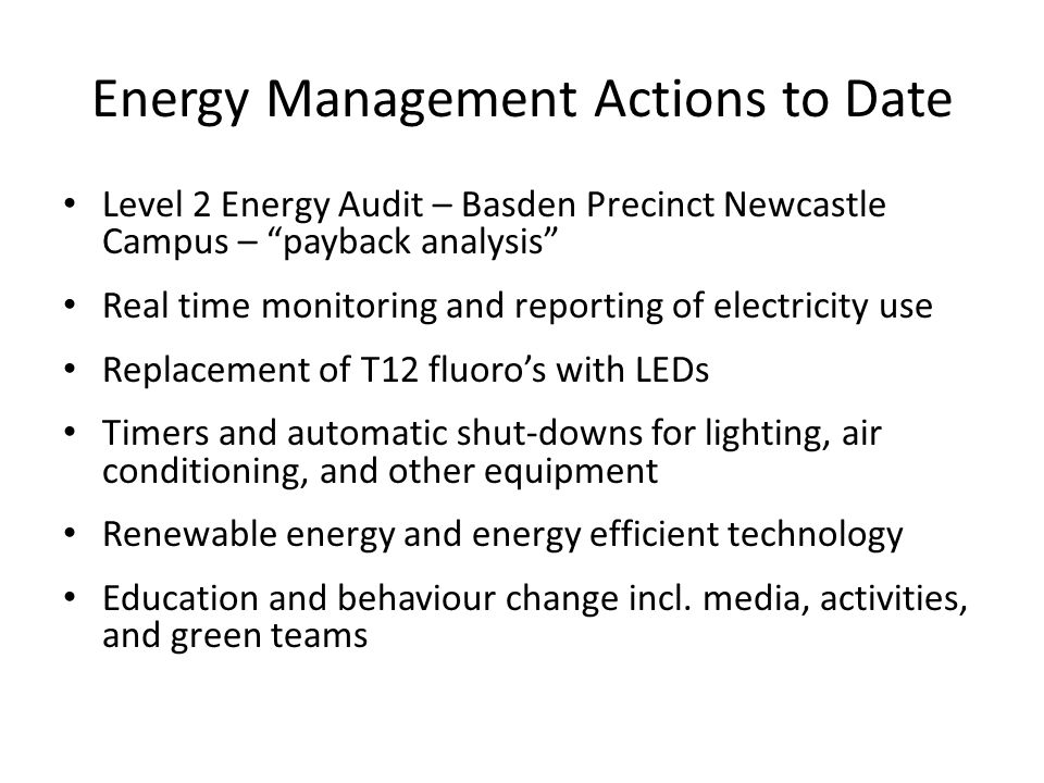 Energy Management Actions to Date