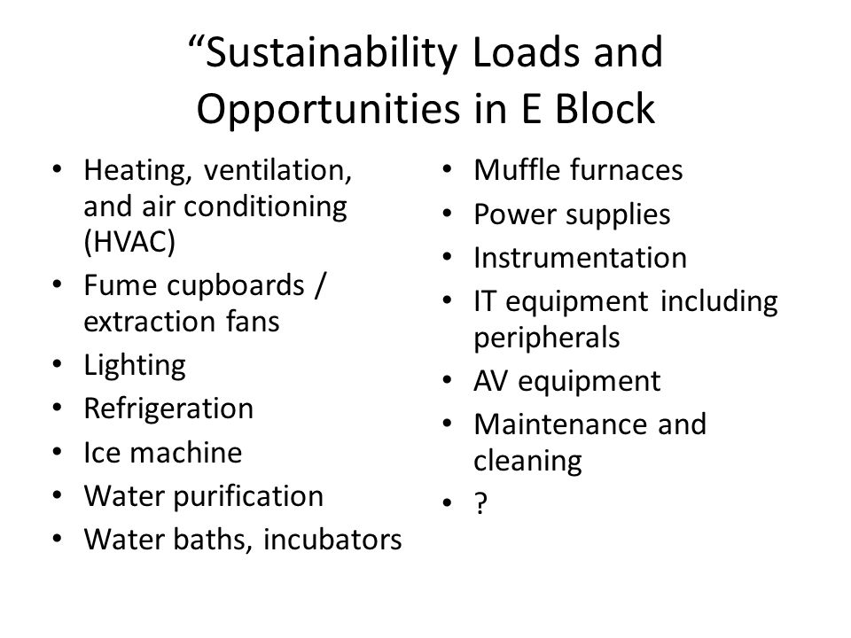 Sustainability Loads and Opportunities in E Block